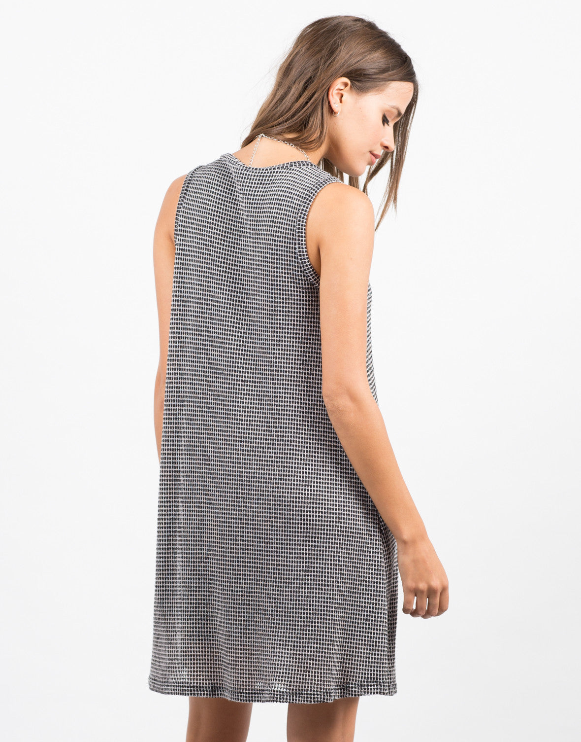 Back View of Checkered Swing Dress