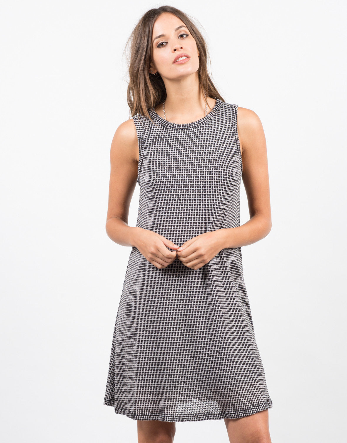 Front View of Checkered Swing Dress