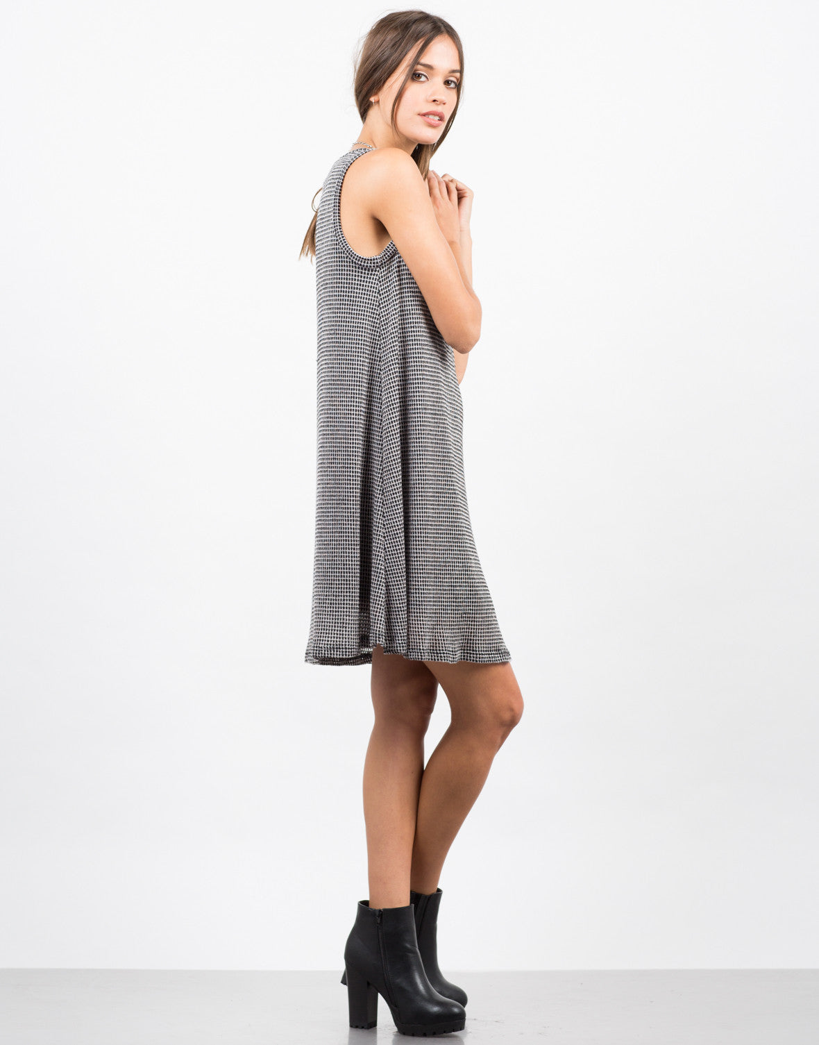 Side View of Checkered Swing Dress