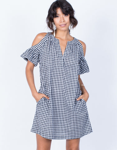 Front View of Checkmate Shift Dress