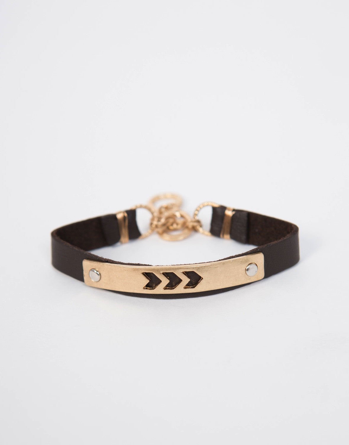 Chevron Arrow Leather Bracelet