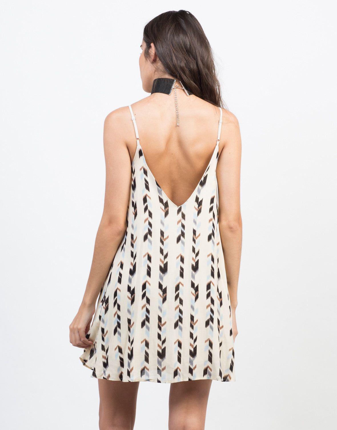 Back View of Chevron Printed Dress