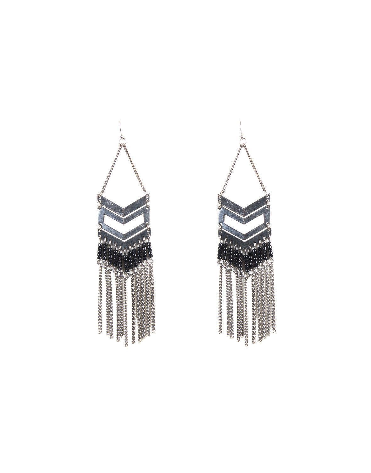 Chevron Beaded Fringe Earrings
