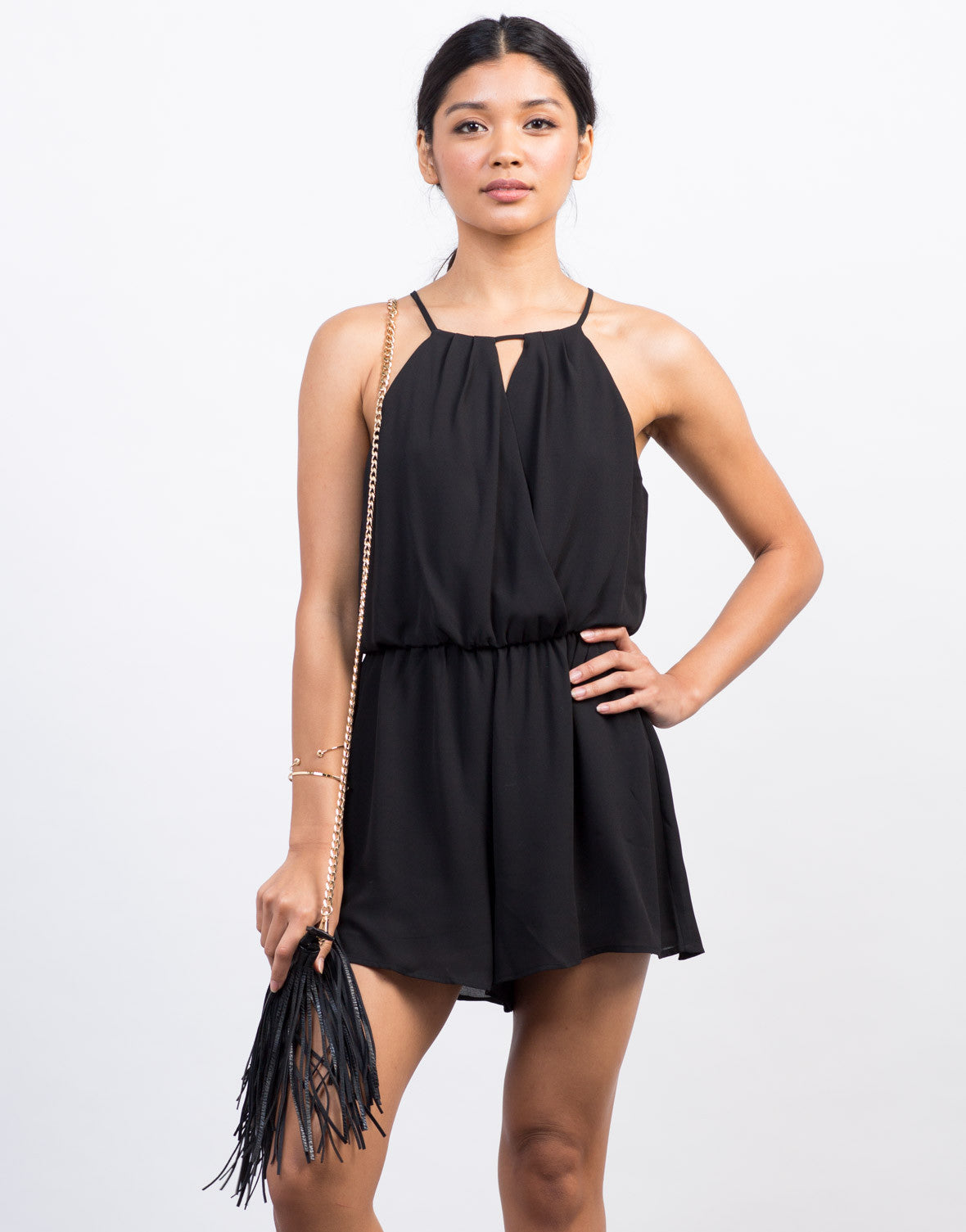 Front View of Chiffon Crossover Romper