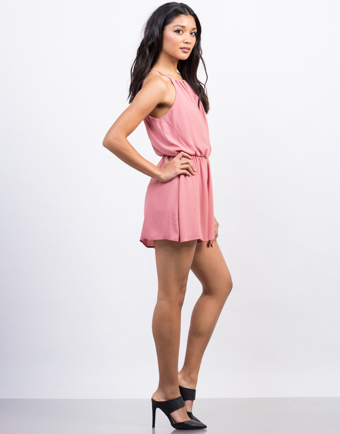 Side View of Chiffon Crossover Romper