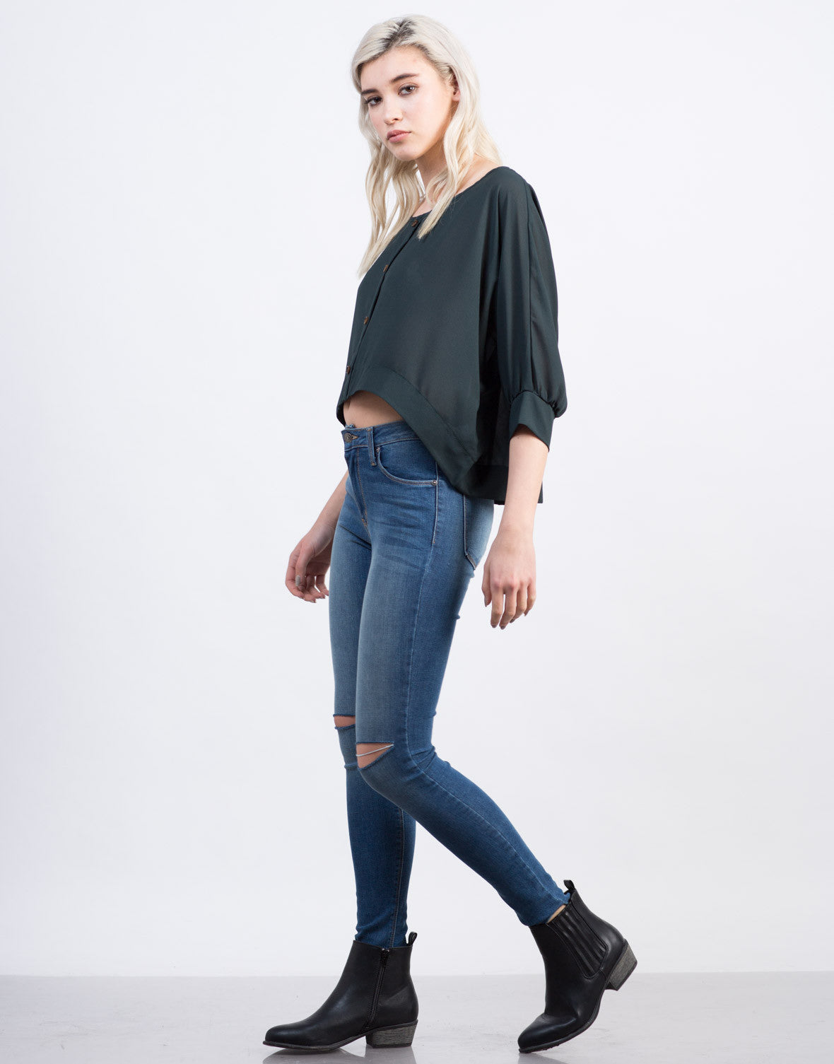 Side View of Chiffon Dolman Top