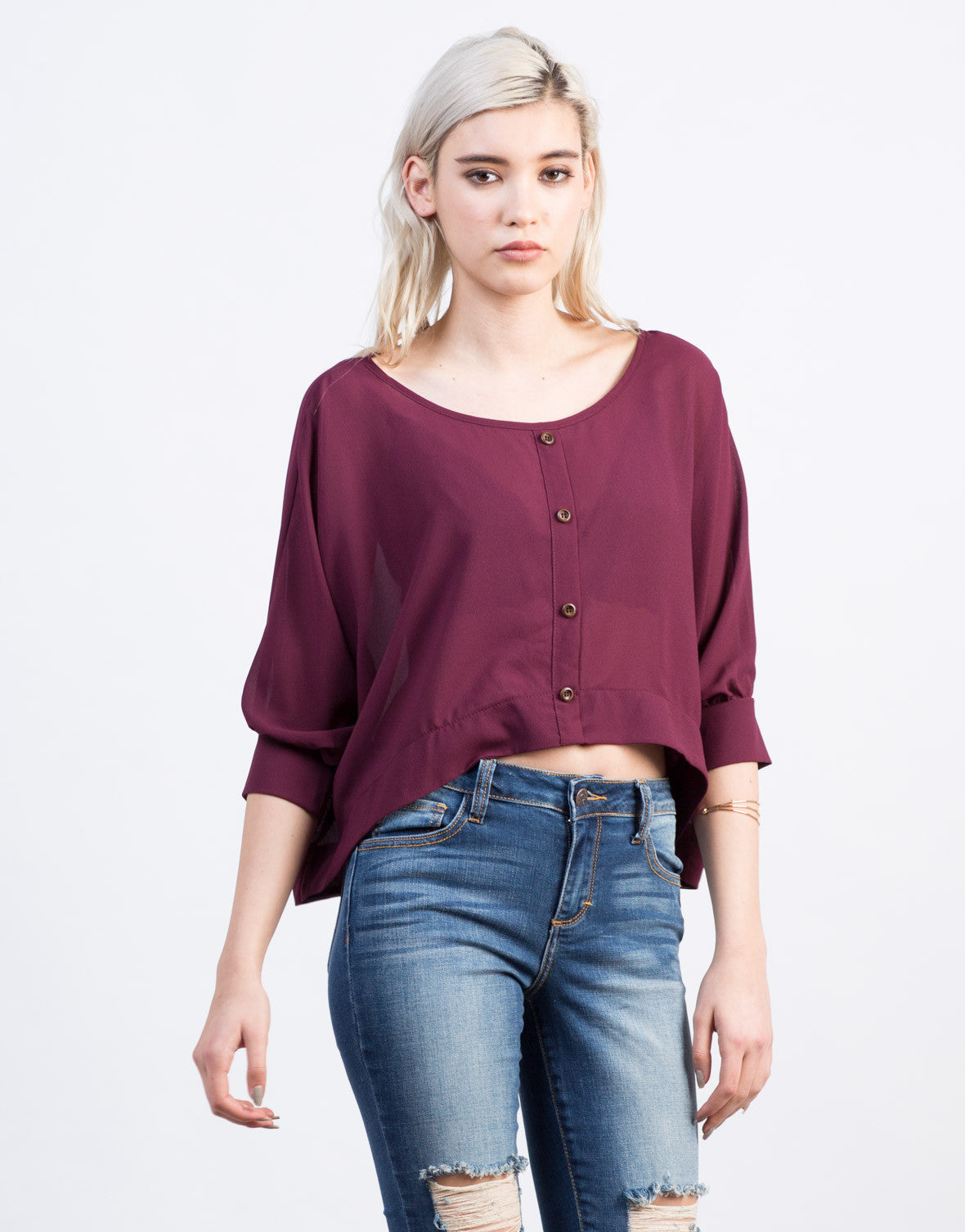 Front View of Chiffon Dolman Top