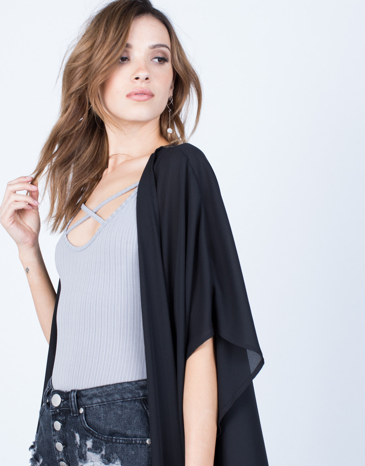 Detail of Chiffon Duster Cardigan