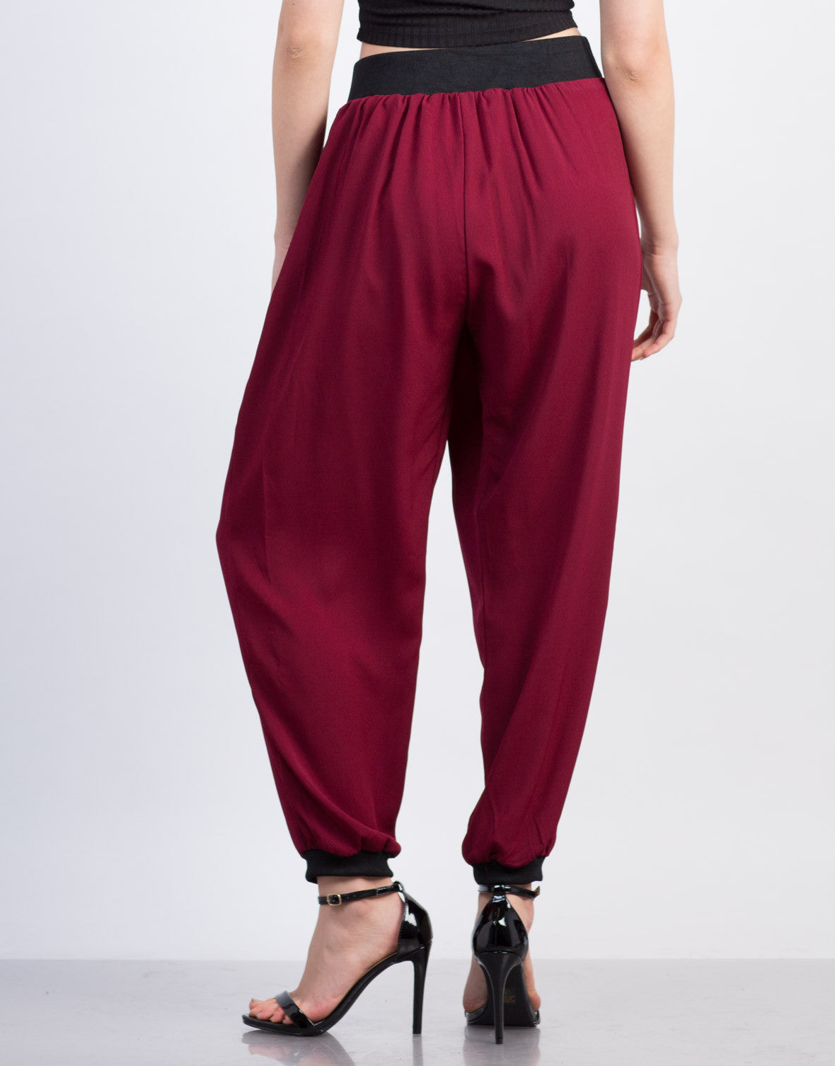 Back View of Chiffon Elastic Waistband Harem Pants