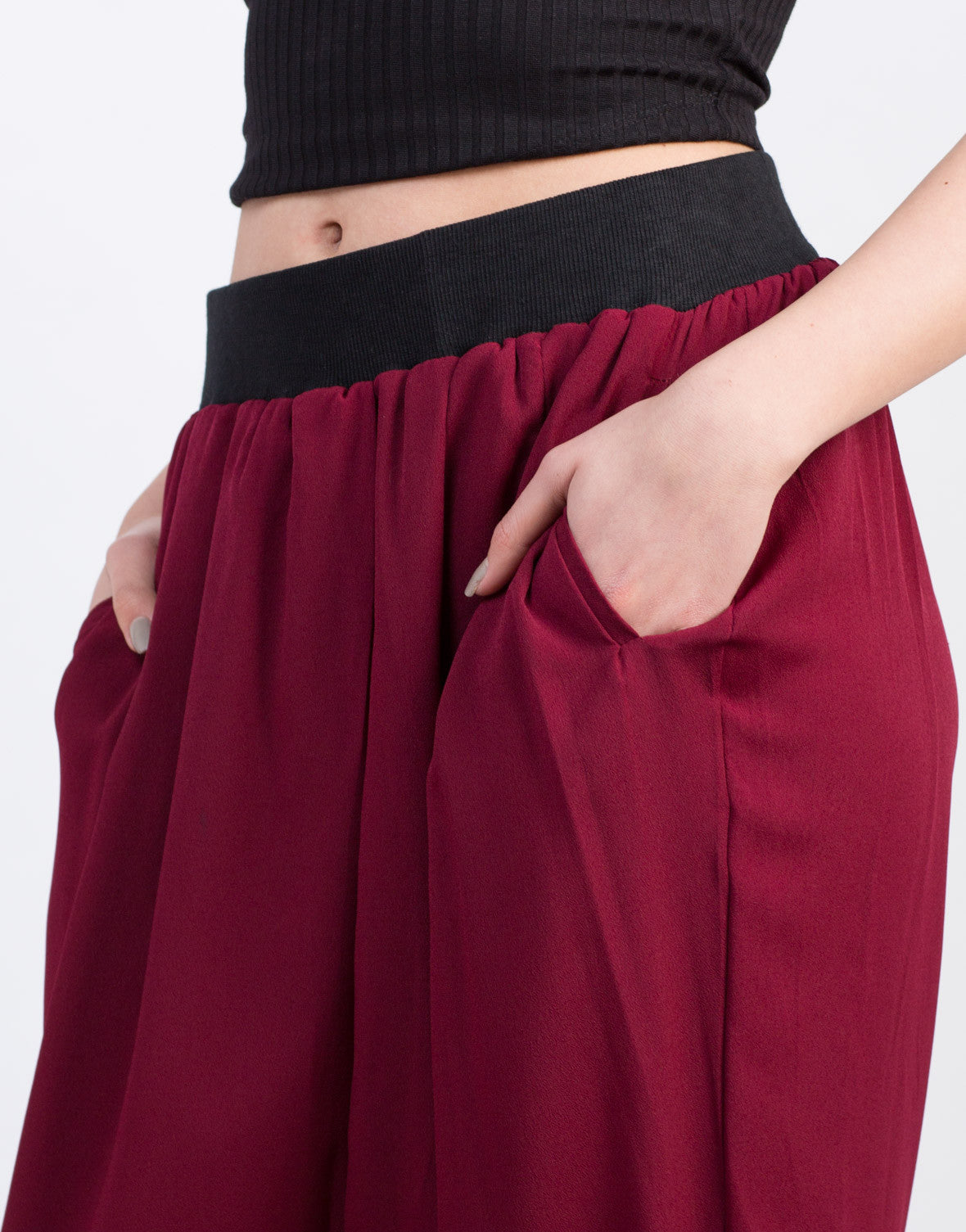 Detail of Chiffon Elastic Waistband Harem Pants