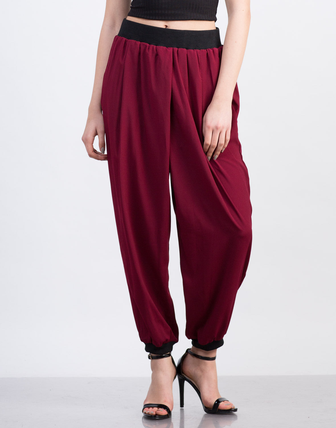Front View of Chiffon Elastic Waistband Harem Pants