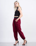 Side View of Chiffon Elastic Waistband Harem Pants