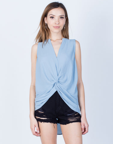 Front View of Chiffon Knotted Tank