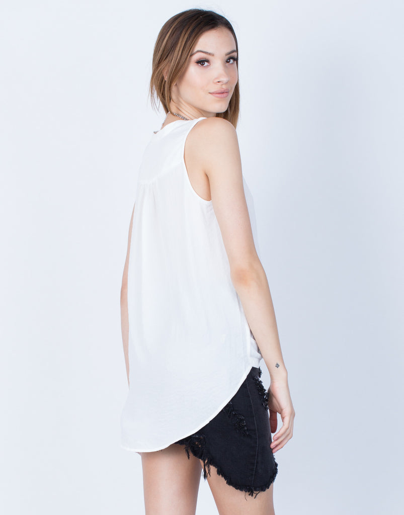 Back View of Chiffon Knotted Tank