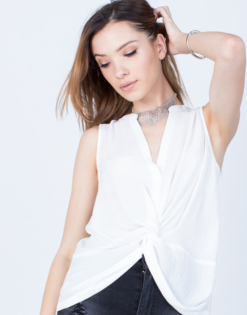 Detail of Chiffon Knotted Tank
