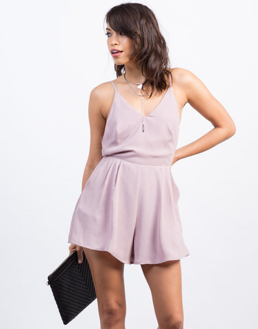 Front View of Chiffon Open Back Romper