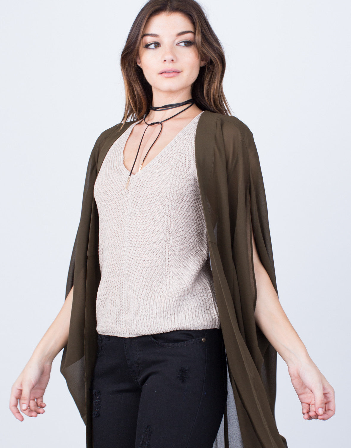 Detail of Chiffon Open Cardigan