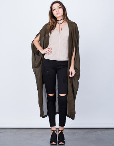 Front View of Chiffon Open Cardigan