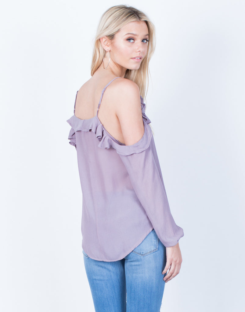 Back View of Chiffon Ruffled Blouse