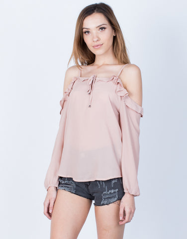 Front View of Chiffon Ruffled Blouse