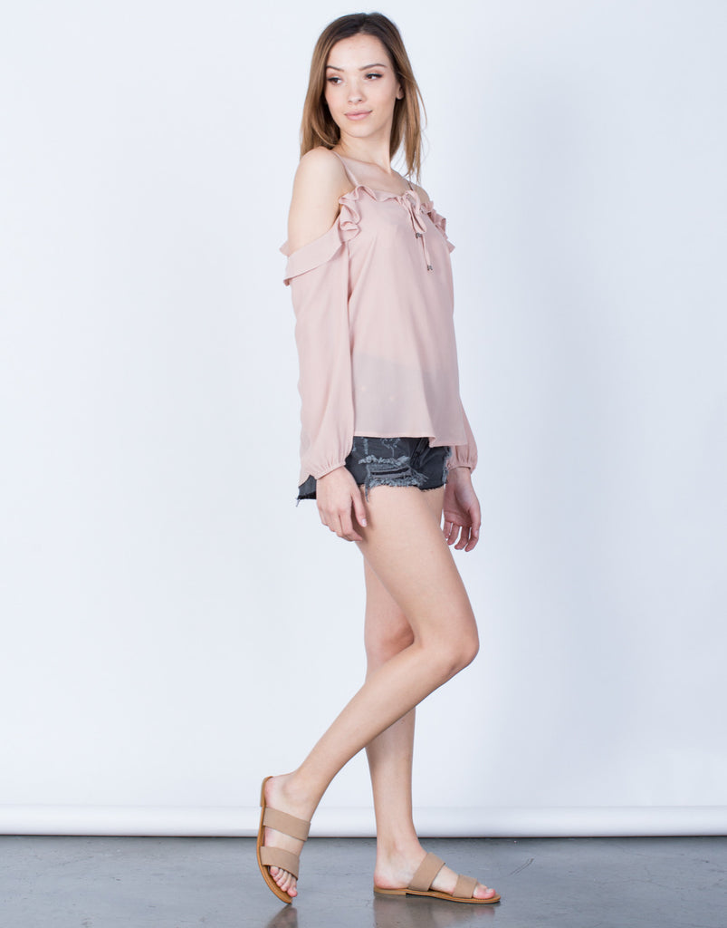 Side View of Chiffon Ruffled Blouse