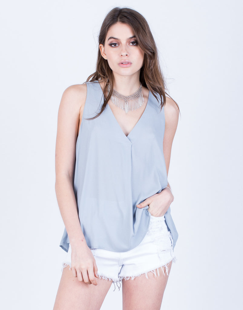 Front View of Chiffon V-Neck Tank