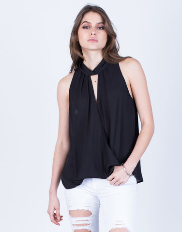Front View of Chiffon Wrapped Top