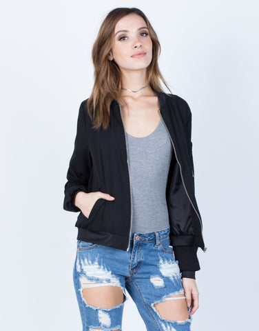 Front View of Chiffon Zip Up Bomber