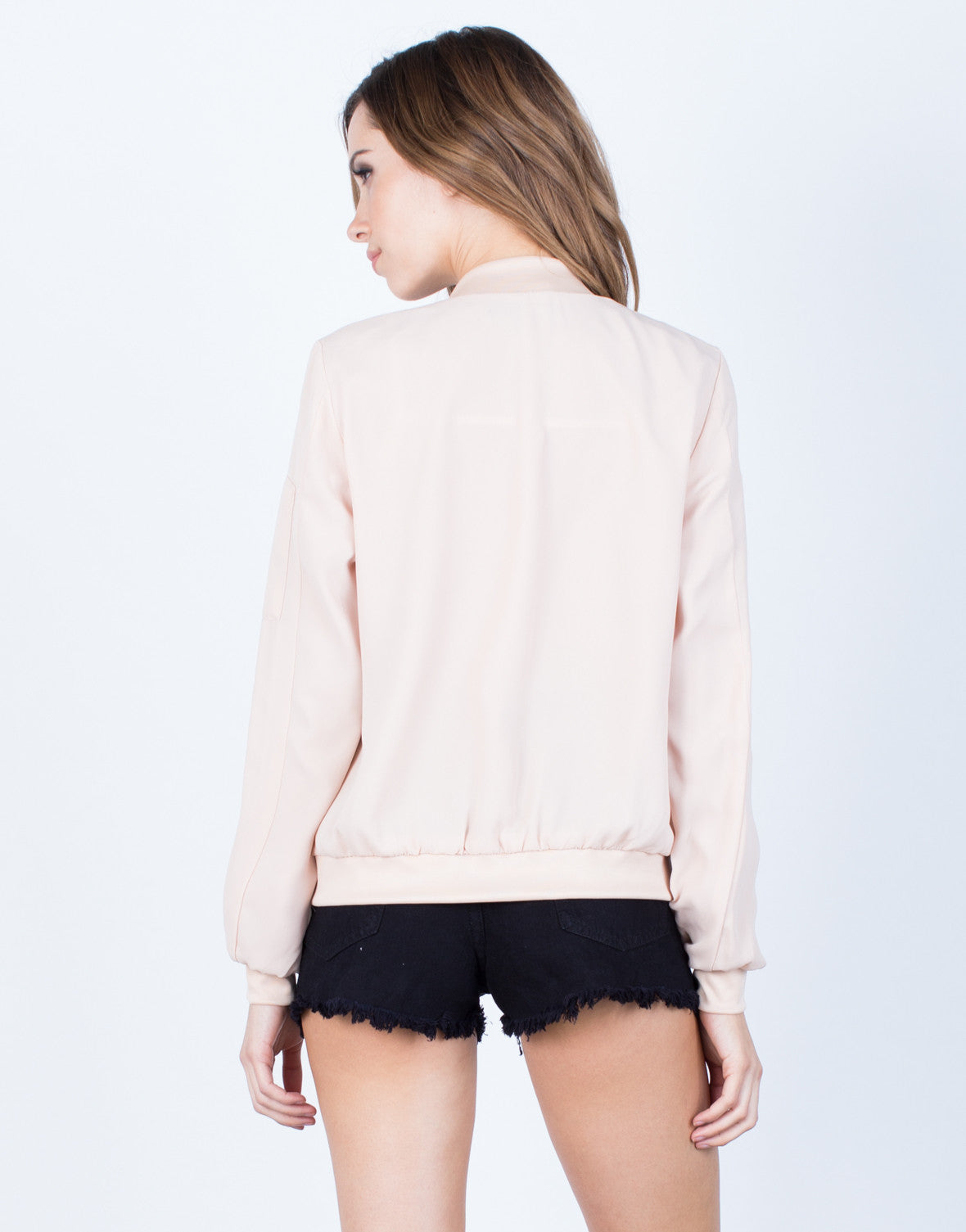 Back View of Chiffon Zip Up Bomber