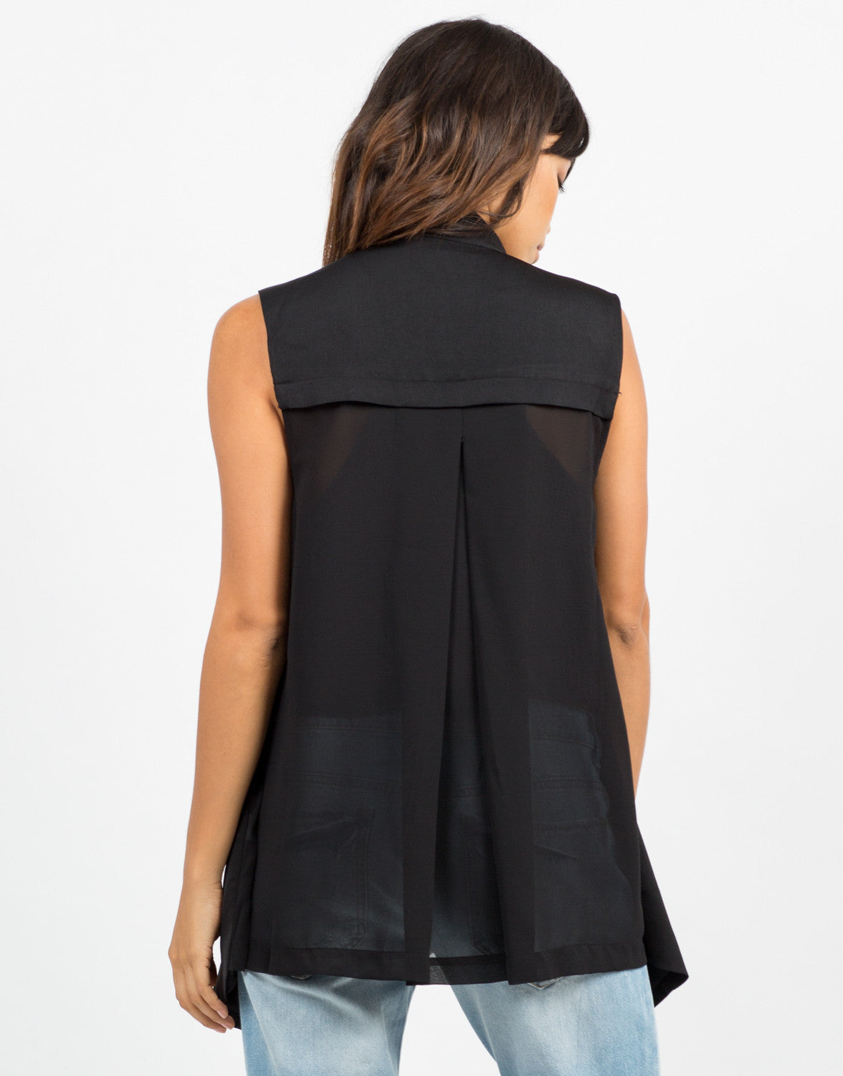 Back View of Chiffon Back Sleeveless Blazer