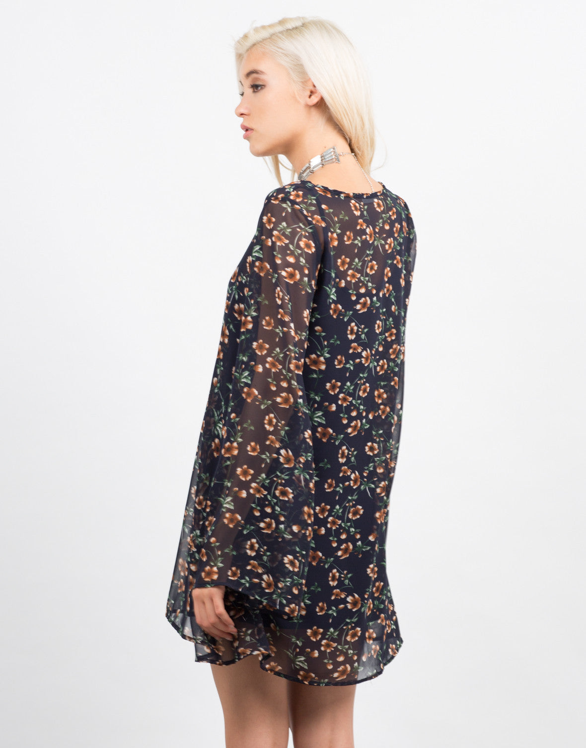 Back View of Chiffon Floral Dress