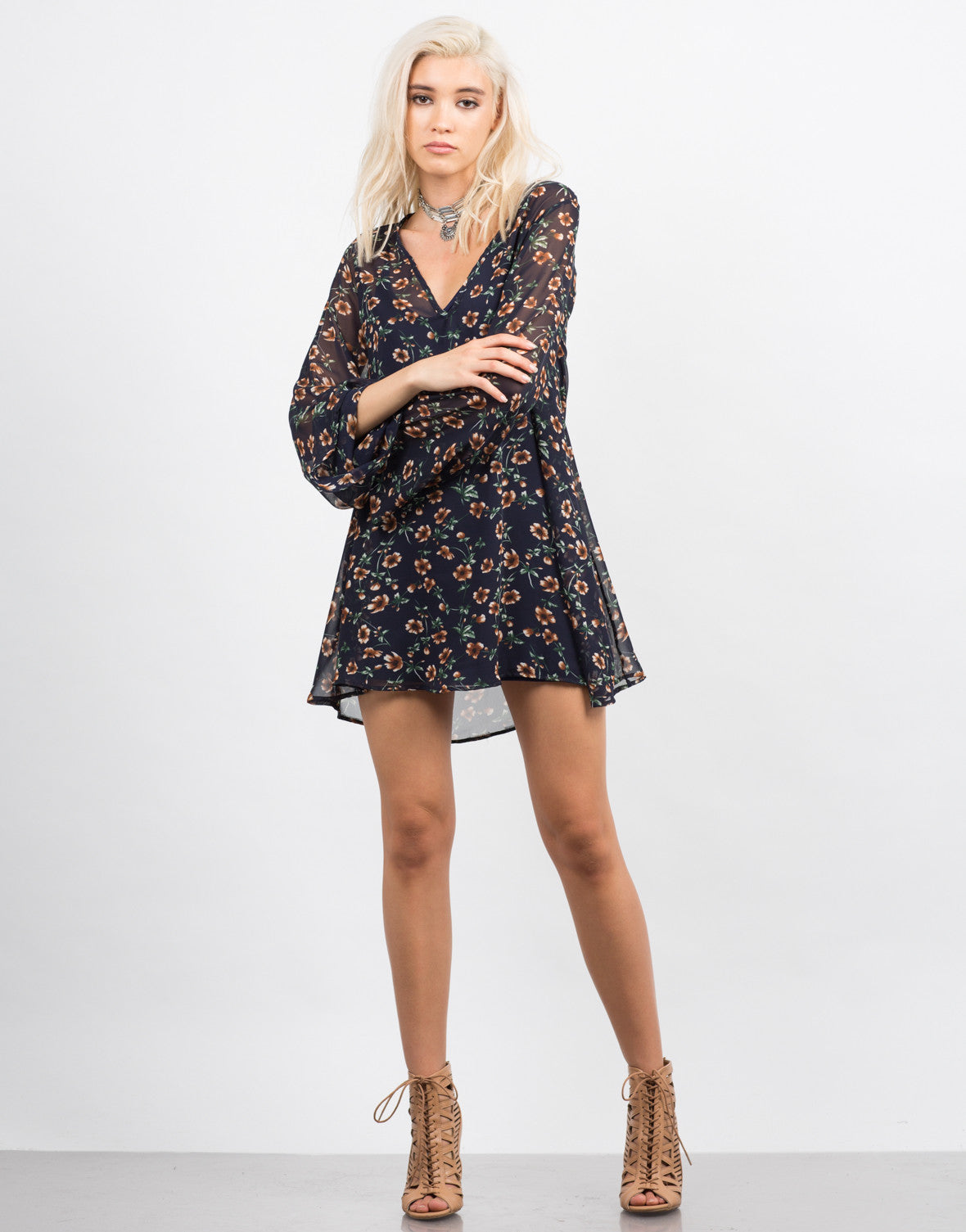 Front View of Chiffon Floral Dress