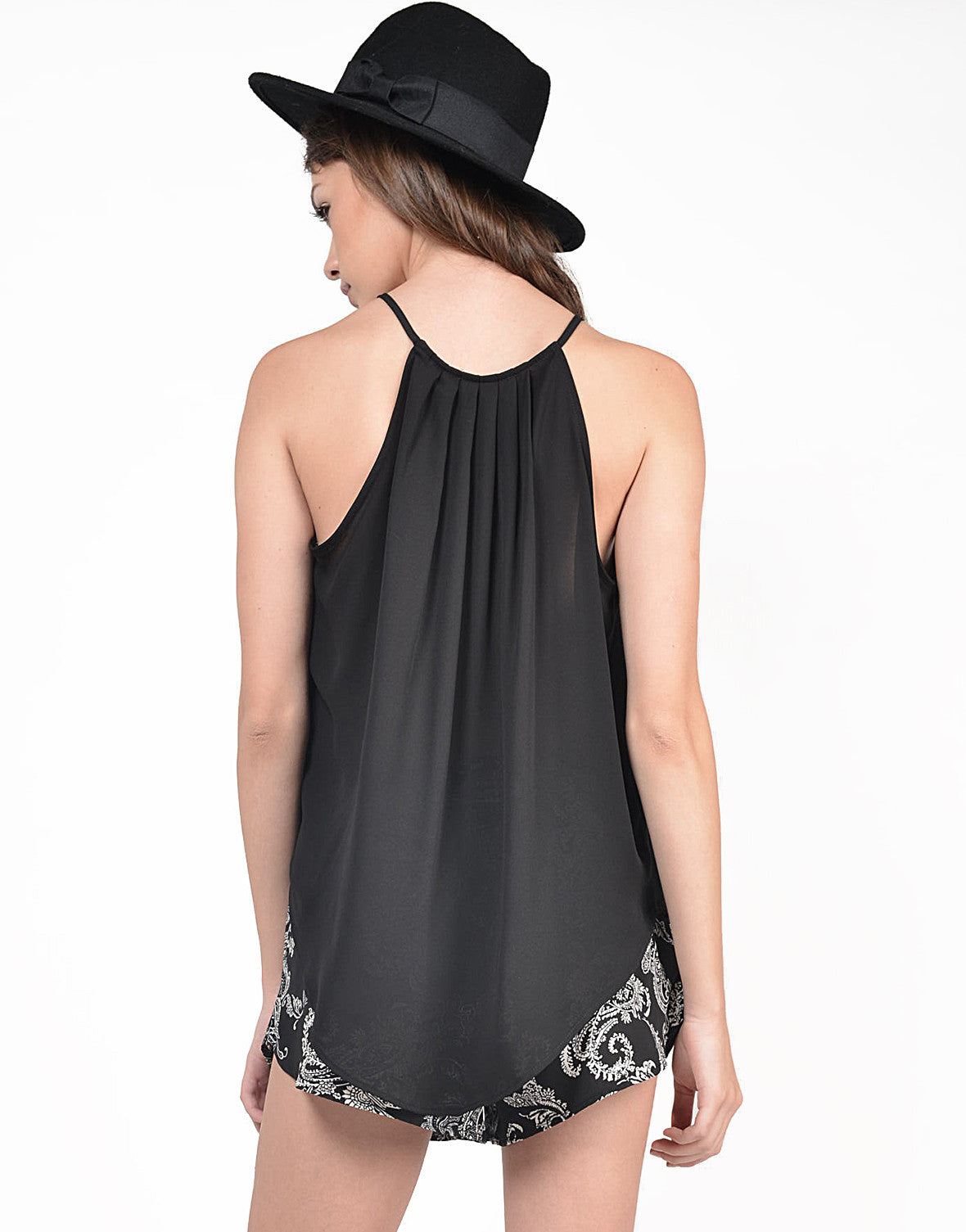 Back View of Chiffon Halter Top