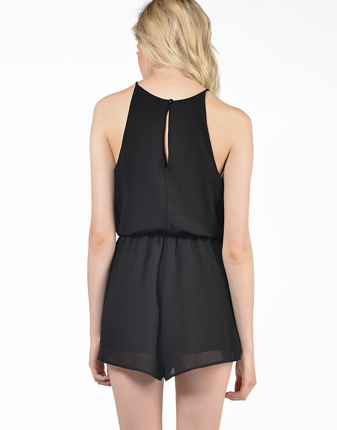 Back View of Chiffon High Neck Romper