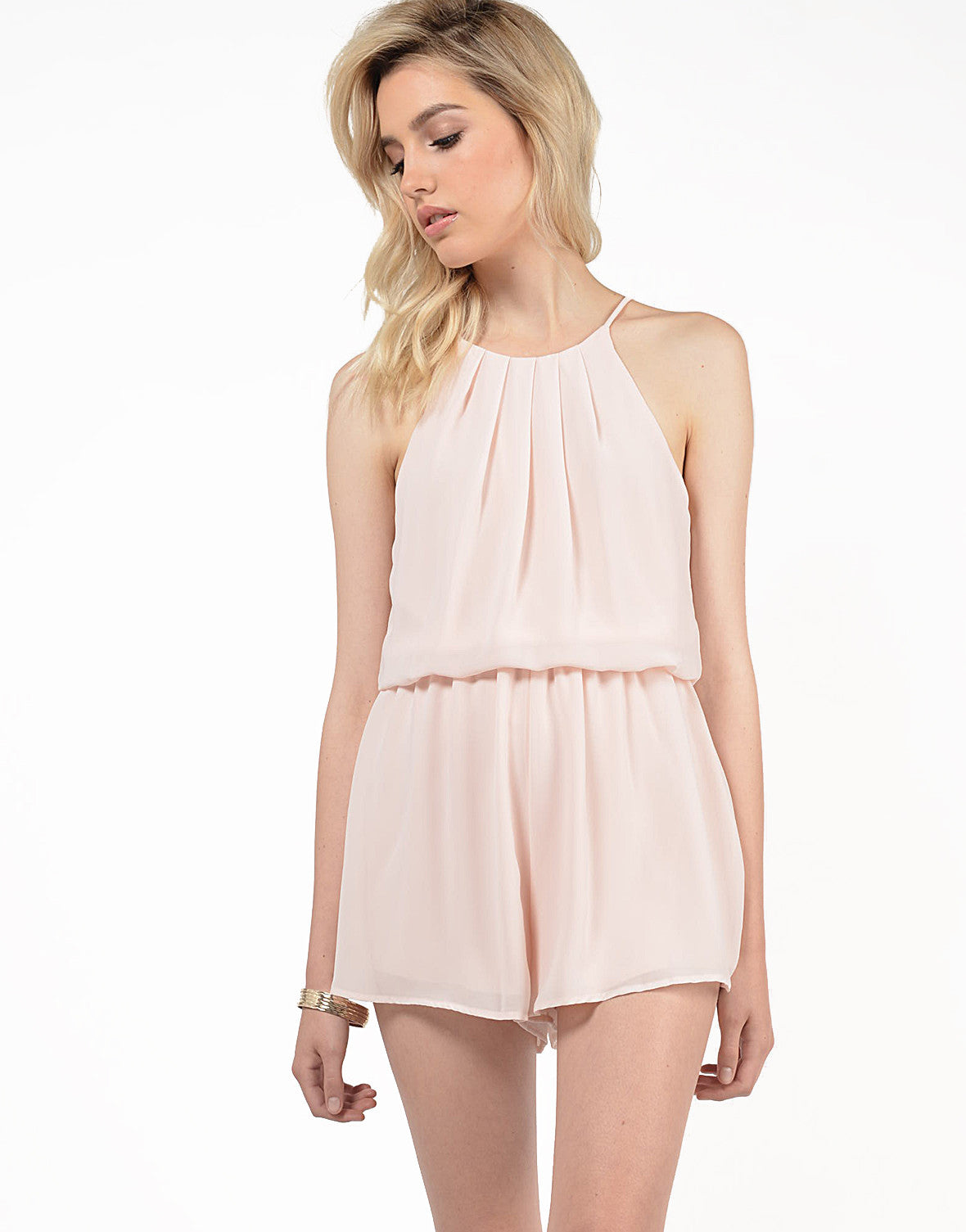 Front View of Chiffon High Neck Romper