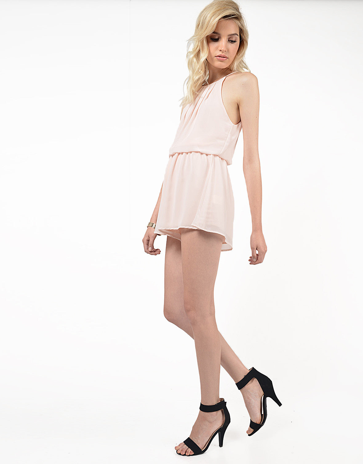 Side View of Chiffon High Neck Romper