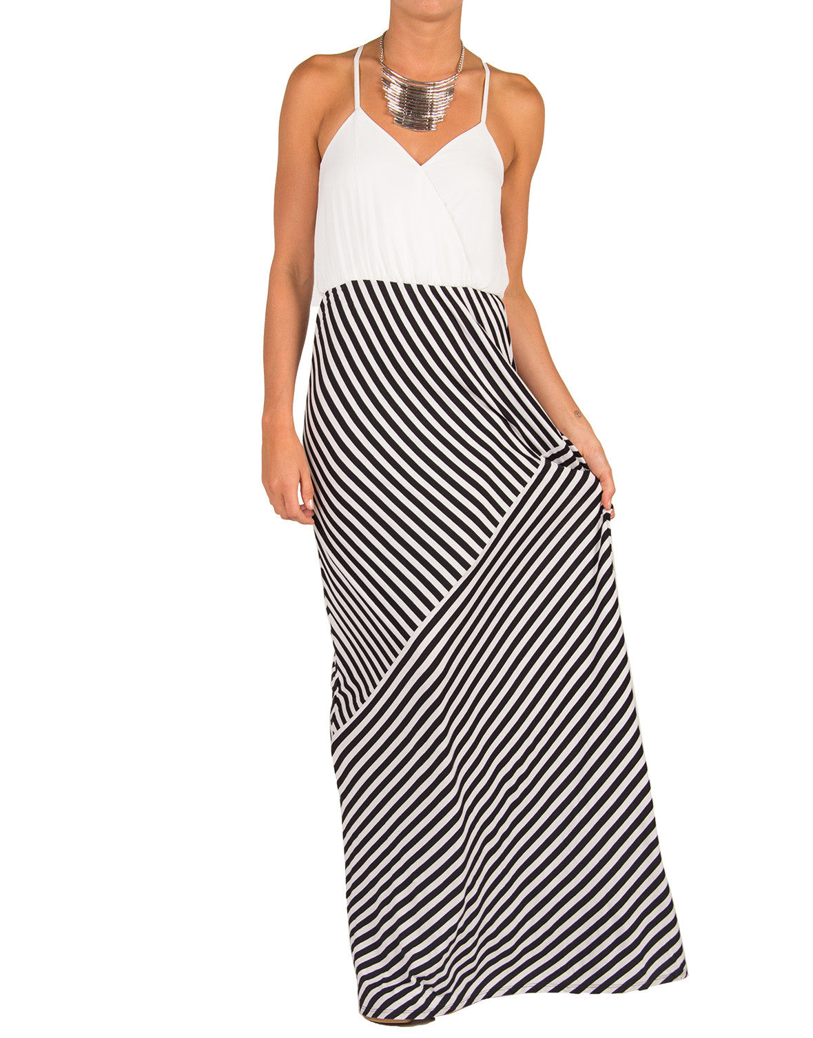 Chiffon Mix Striped Maxi Dress