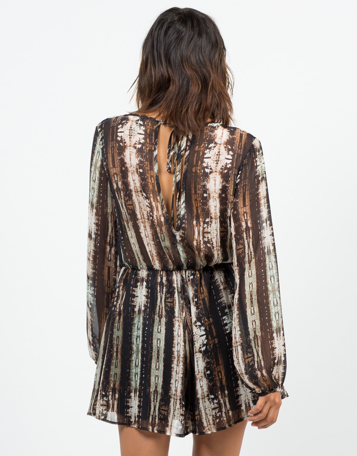 Back View of Chiffon Printed Romper