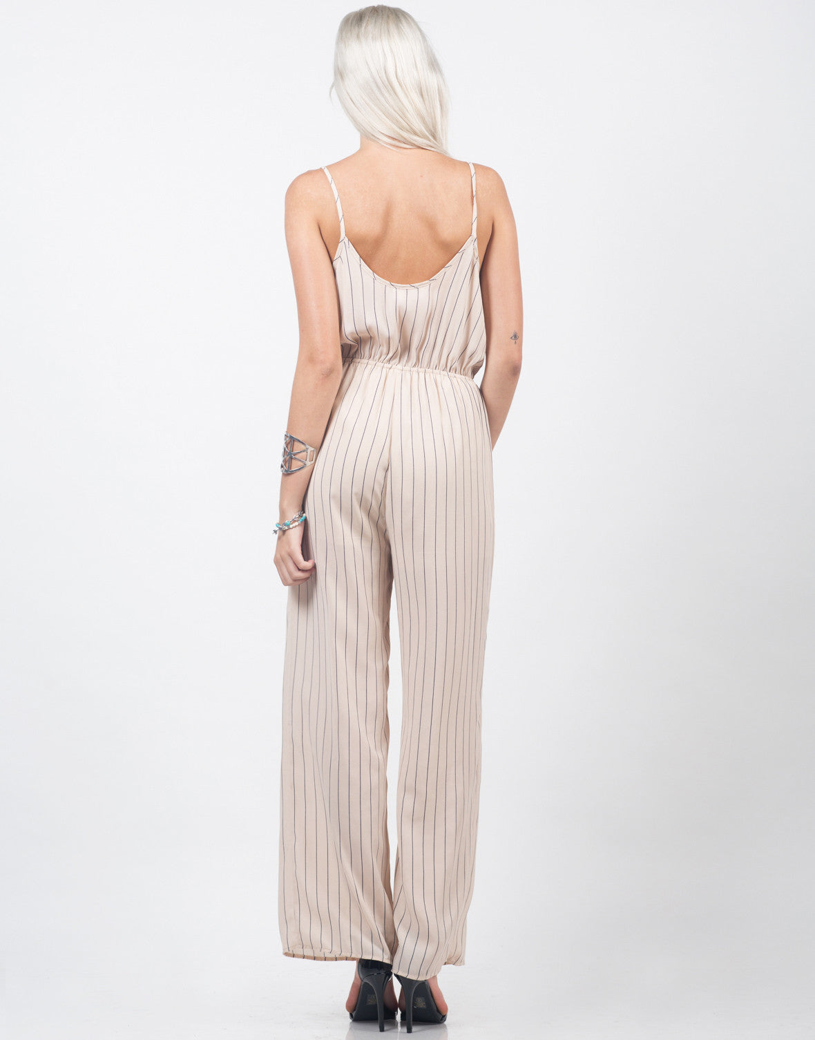 Back View of Chiffon Stripe Jumpsuit