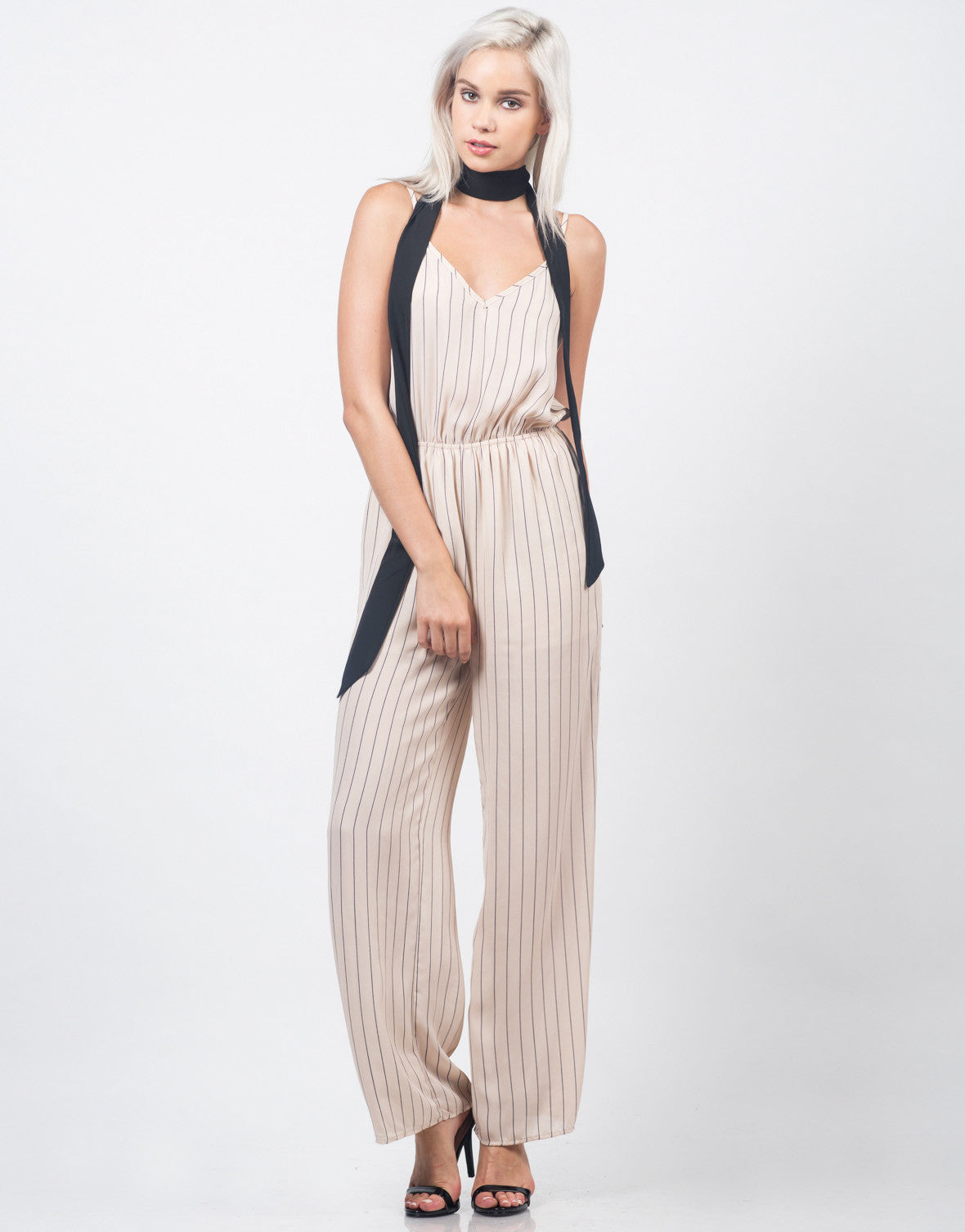 Front View of Chiffon Stripe Jumpsuit