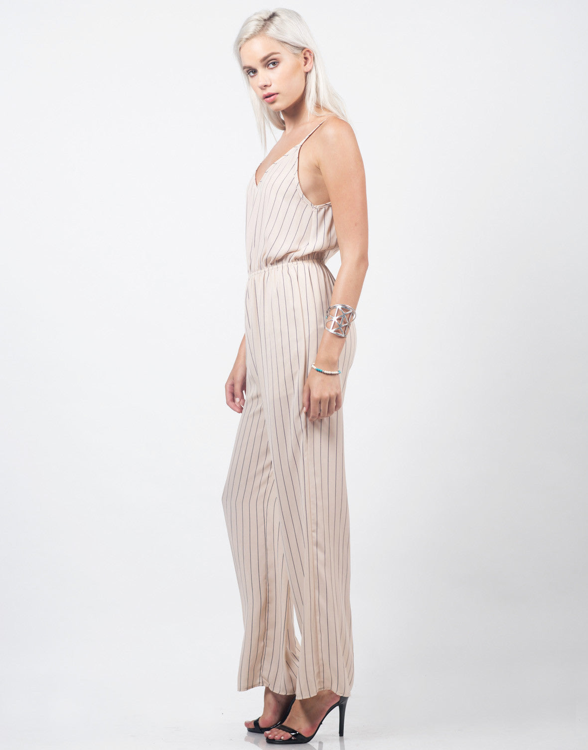 Side View of Chiffon Stripe Jumpsuit