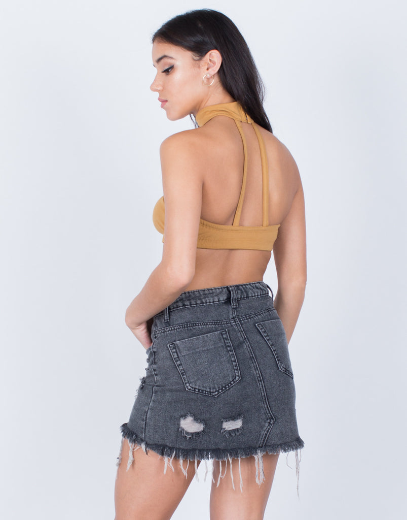 Back View of Choker Bandeau Top