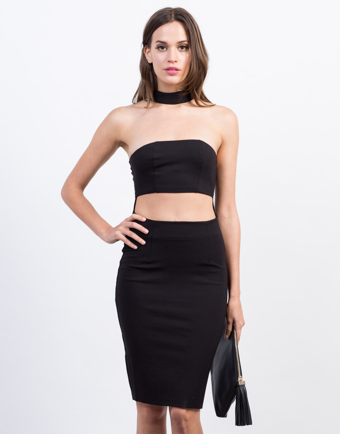 Front View of Choker Banded Dress