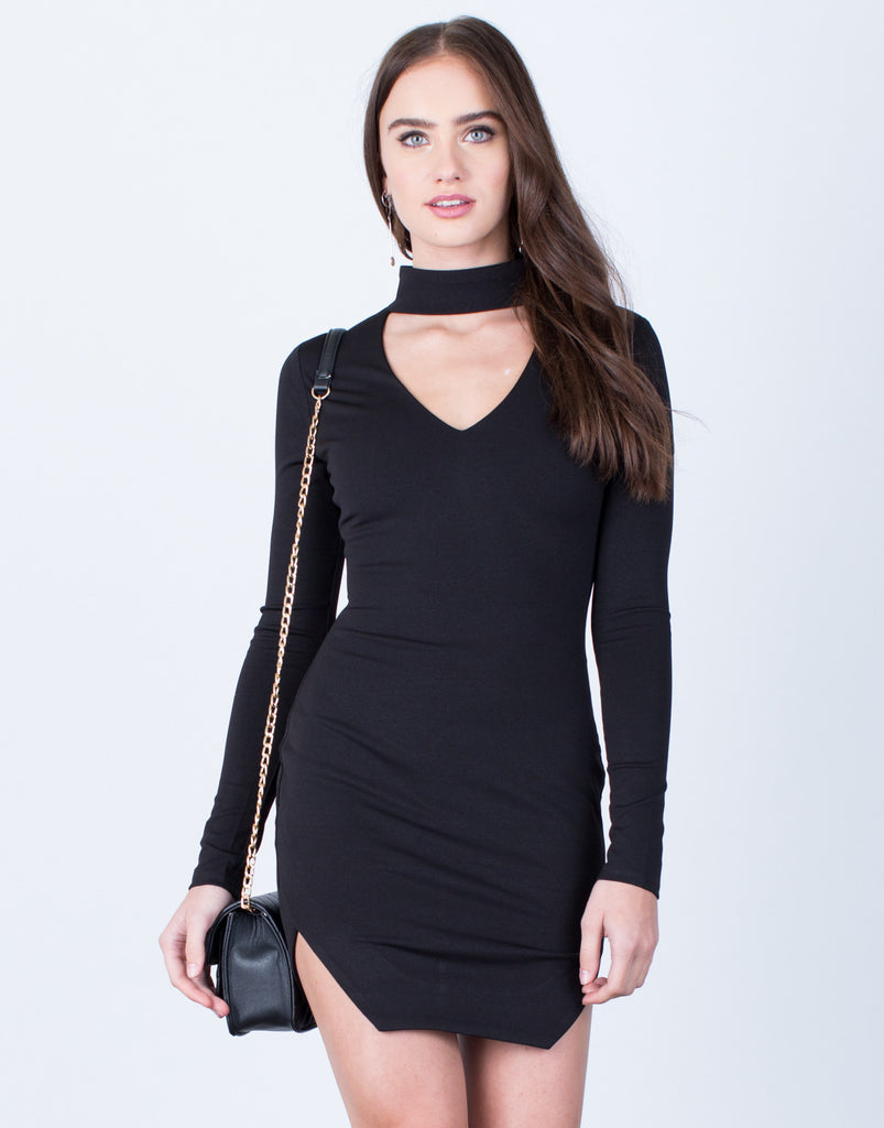 Choker Bodycon Dress Dresses Black Small -2020AVE