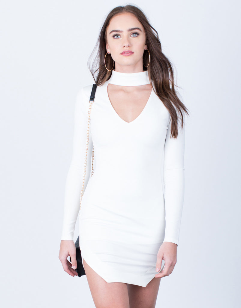 Choker Bodycon Dress Dresses White Small -2020AVE