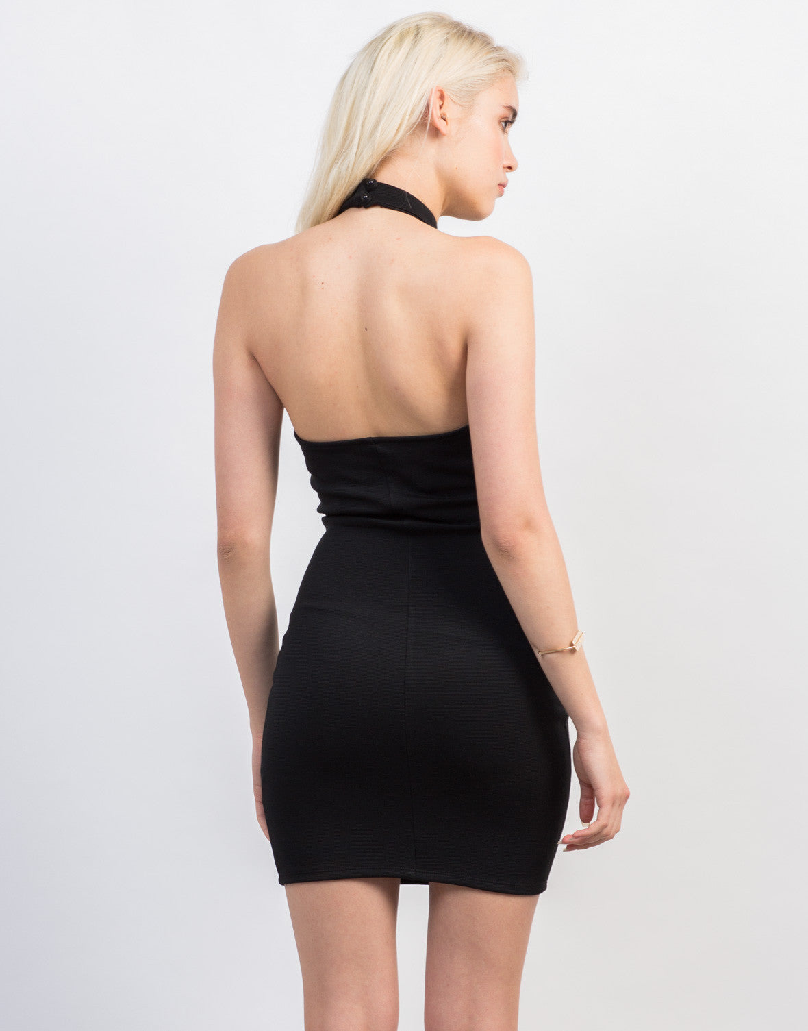 Back View of Choker Halter Dress