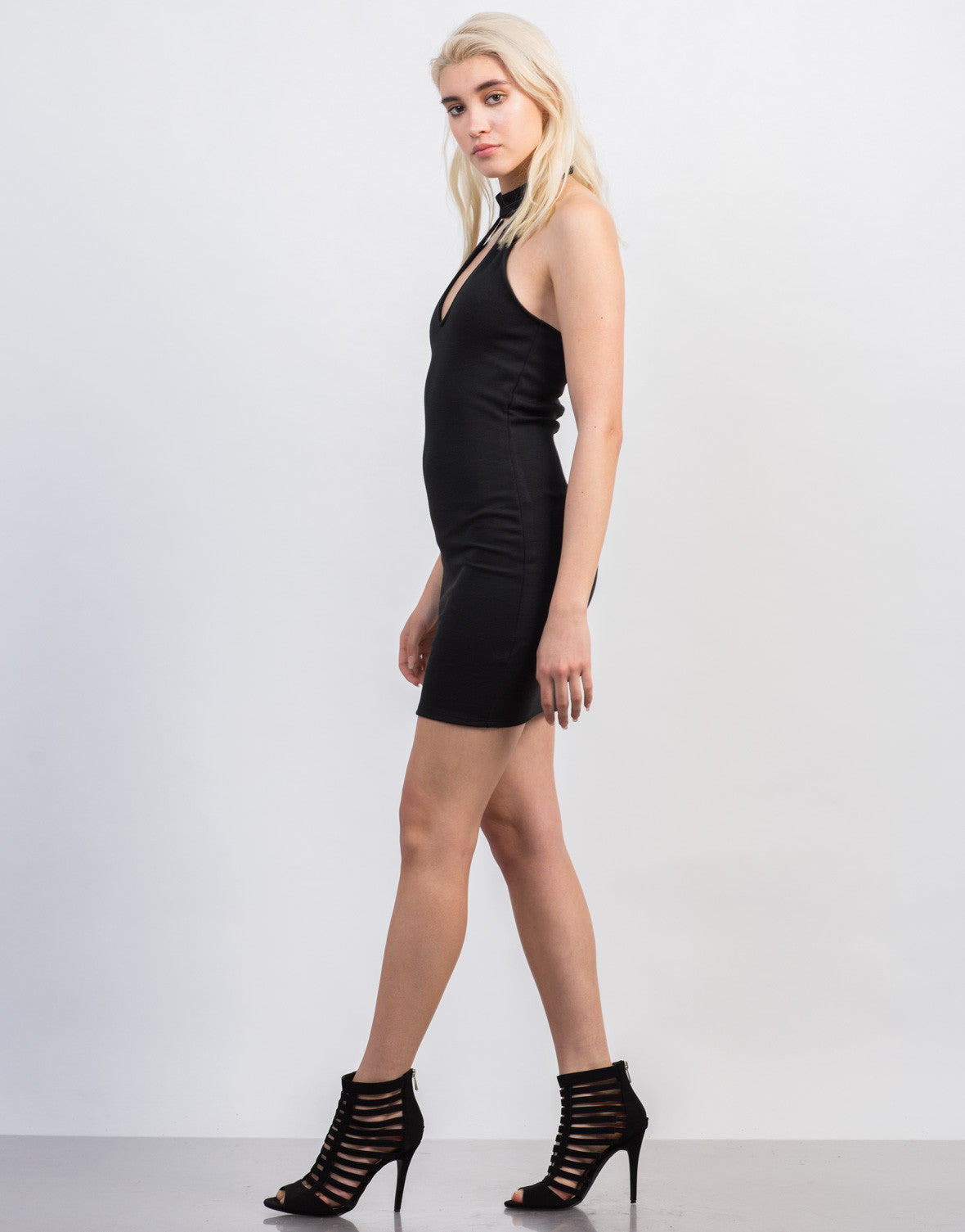 Side View of Choker Halter Dress