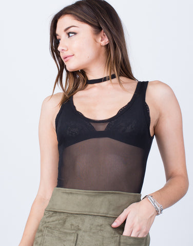 Front View of Choker Mesh Bodysuit