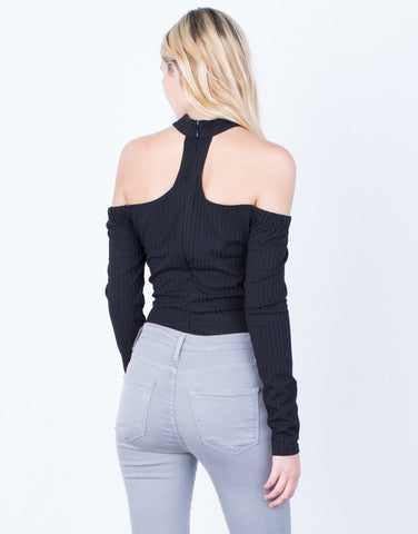 Back View of Choker Ribbed Bodysuit