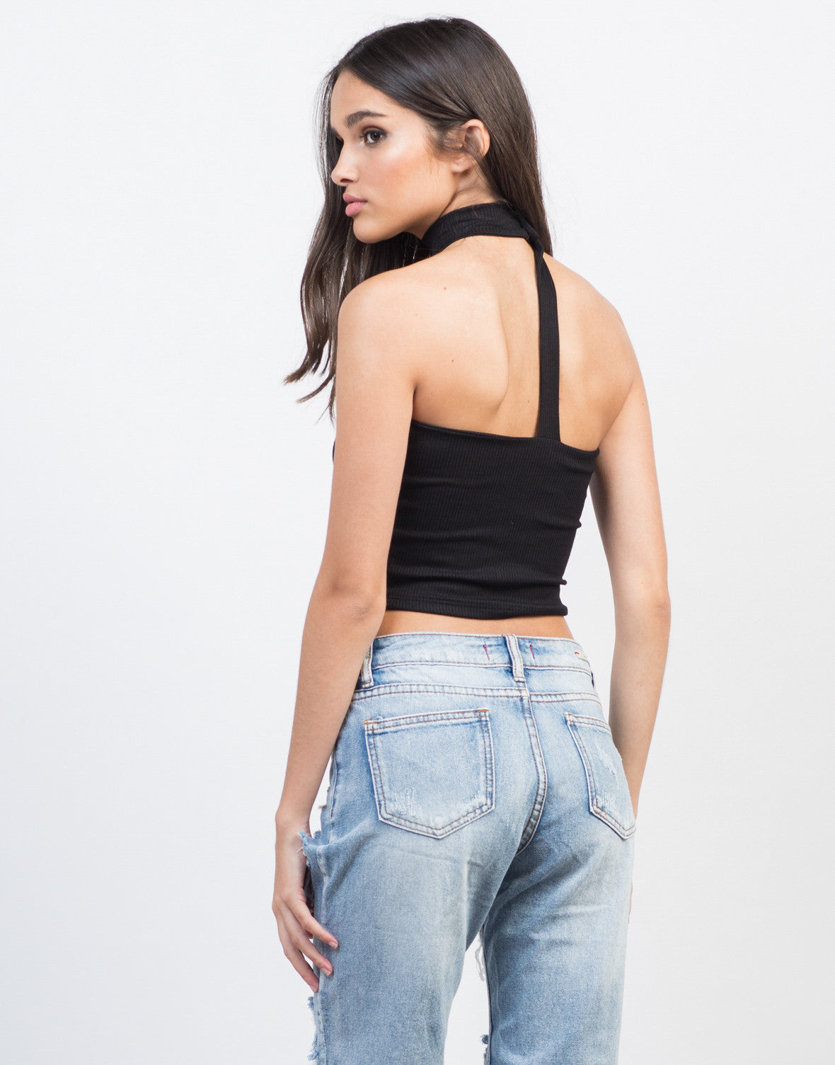 Back View of Choker Ribbed Crop Top